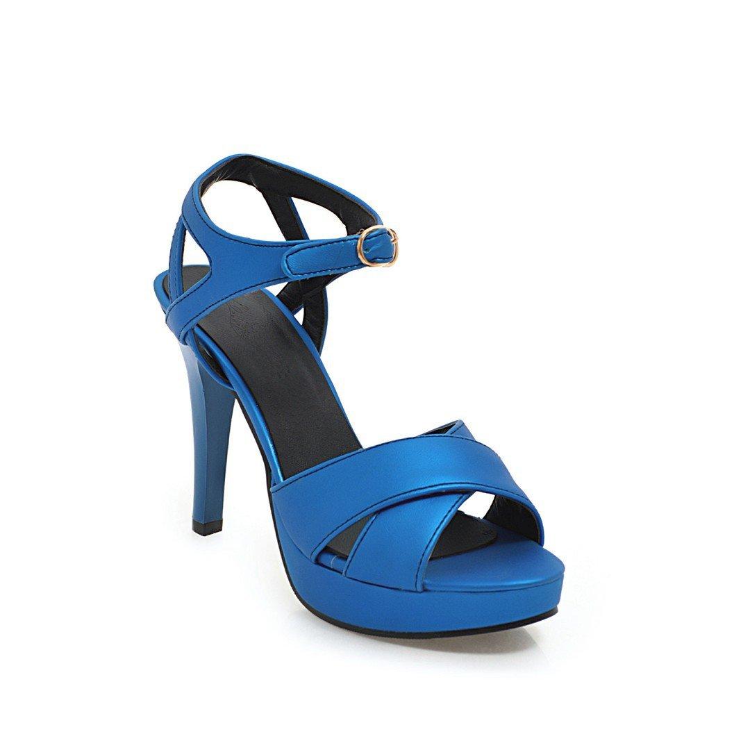 Unbekannt Damen Sandalen Fisch Mund Heels Wasserdicht Plattform High Heels Mund Fein mit Groß Blau 45 4899b7