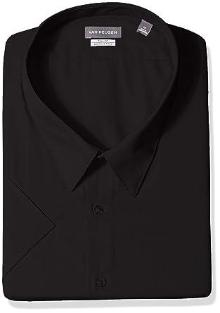 """efbc181d03d06c Van Heusen Men's Big Short Sleeve Poplin Solid Tall Fit Dress Shirt, Black  16.5"""""""