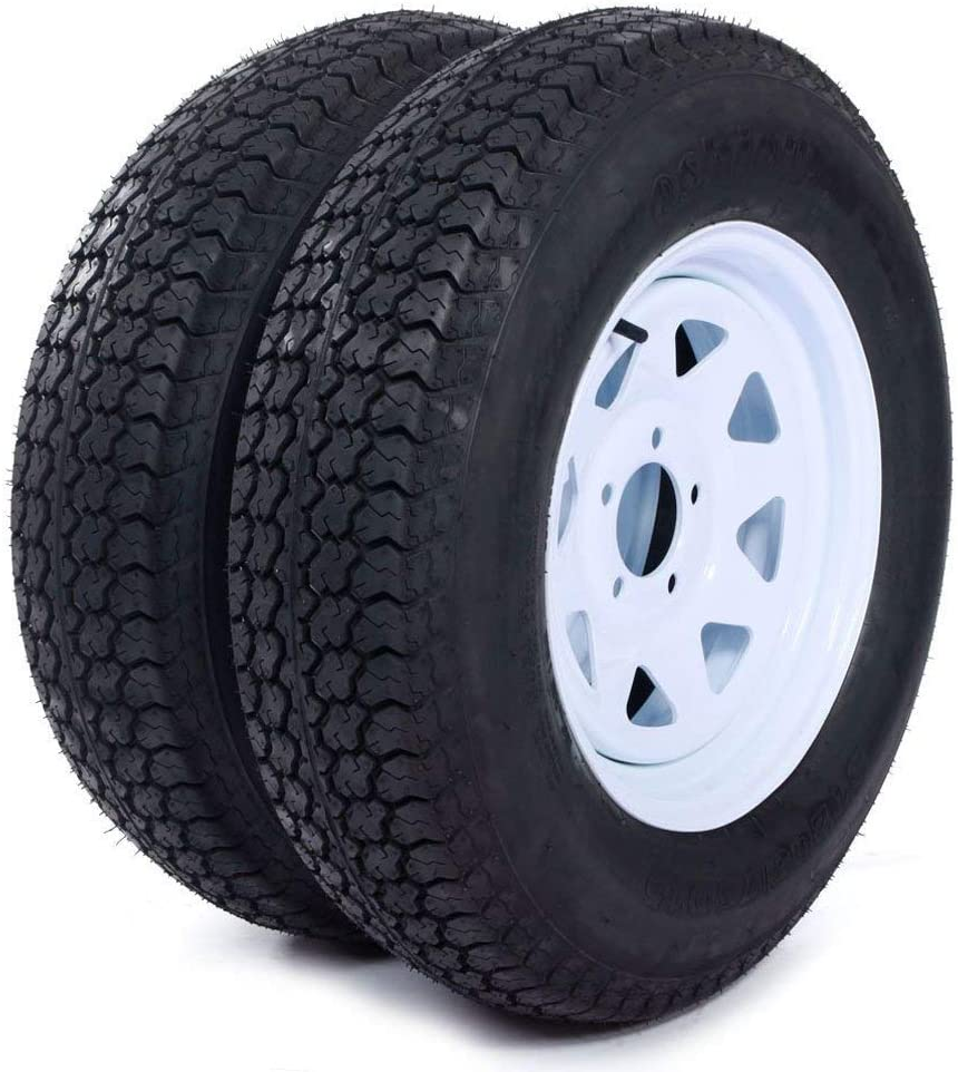 "MILLION PARTS Set of 2 15"" Trailer Tires Rims ST205/75D15 Tire Mounted (5x4.5) Bolt Circle White Spoke Trailer Wheel With Bias Black"