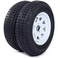"$139 » MILLION PARTS Set of 2 15"" Trailer Tires Rims ST205/75D15 Tire Mounted (5x4.5) Bolt Circle…"
