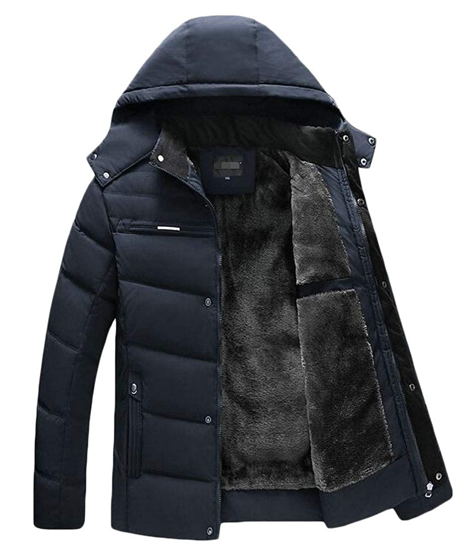 Cromoncent Mens Casual Hooded Warm Puffer Overcoat Parkas Coats Jacket