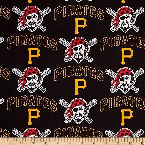 MLB Cotton Broadcloth Pittsburgh Pirates Black/Yellow Fabric
