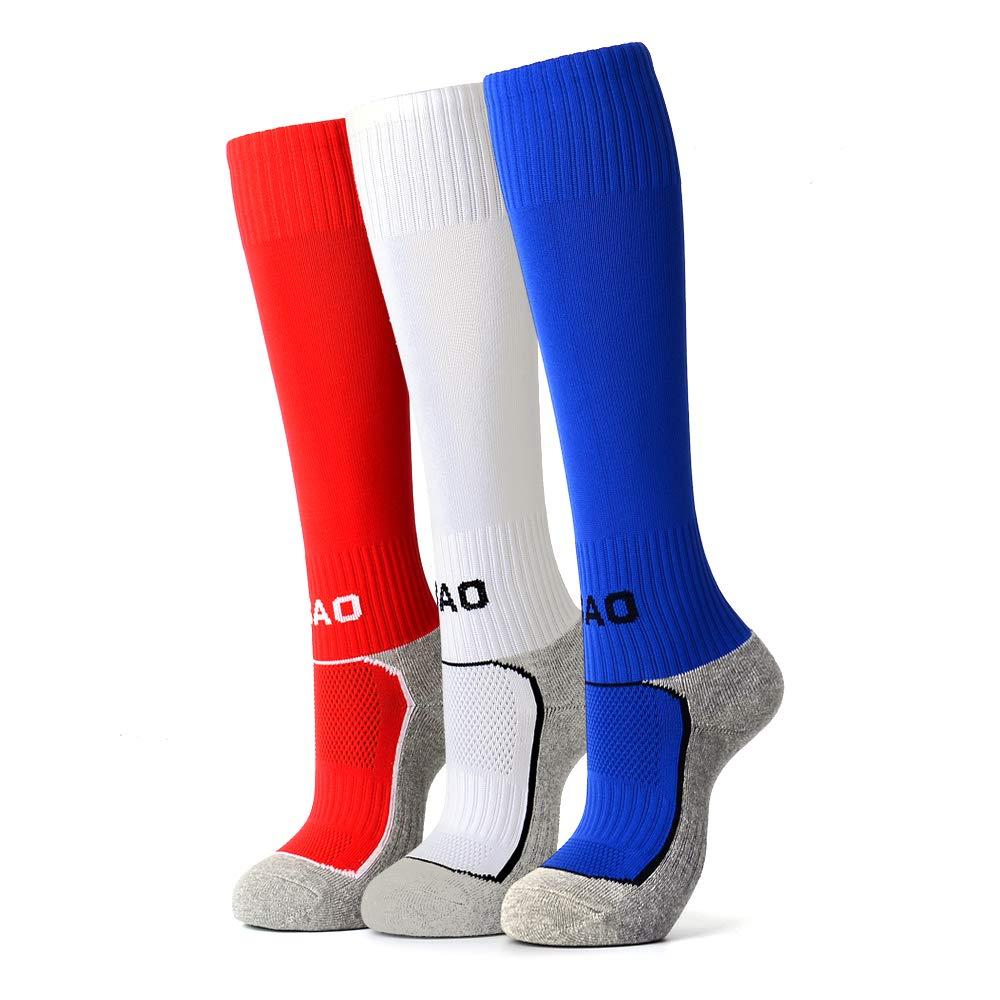 3 Pairs Kids Soccer Socks Boys Girls High Tube Long Knee Athletic Football Socks 4-13 Years Little Kid/Big Kid (1Red & 1Blue & 1White, Small) ... by AII