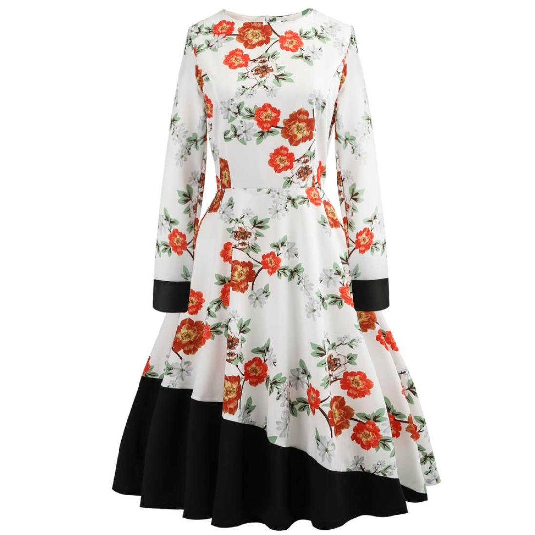Alixyz Women Vintage Floral Long Sleeve Evening Party Prom Swing Dress