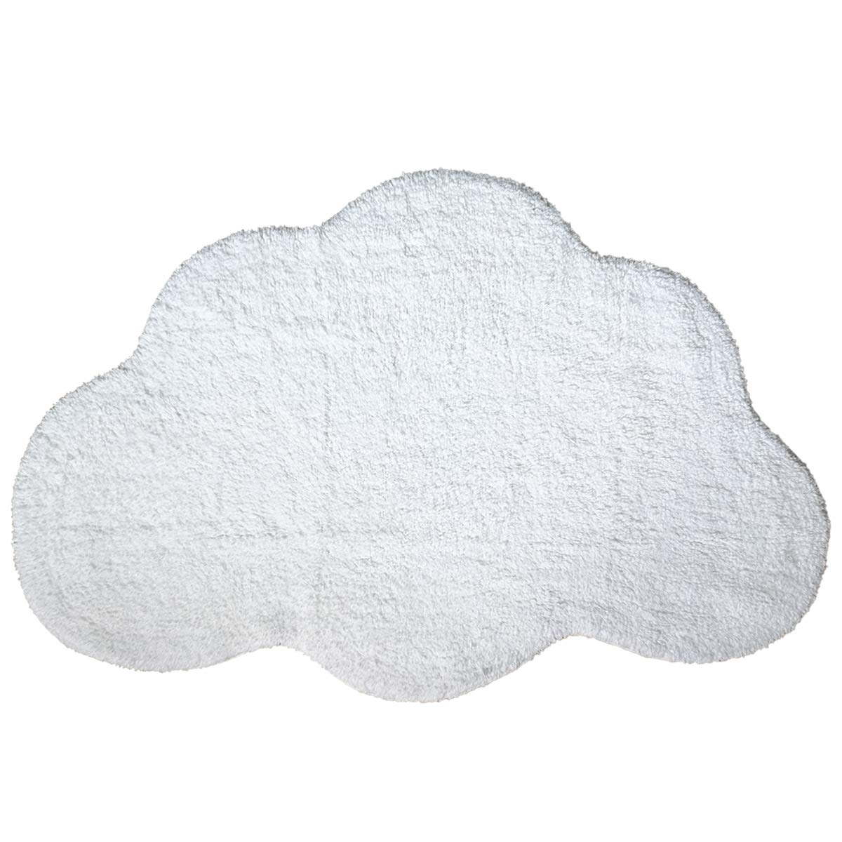 Habudda Cloud Shape Area Rugs for Kids Room Warm Soft 100% Cotton Luxury Plush Handmade Knitted Nursery Decoration Rugs Baby Crawling Rugs Carpet 100CM65CM (White)