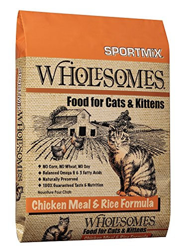 - Sportmix Wholesomes Chicken Meal And Rice Formula Dry Cat Food, 15 Lb.
