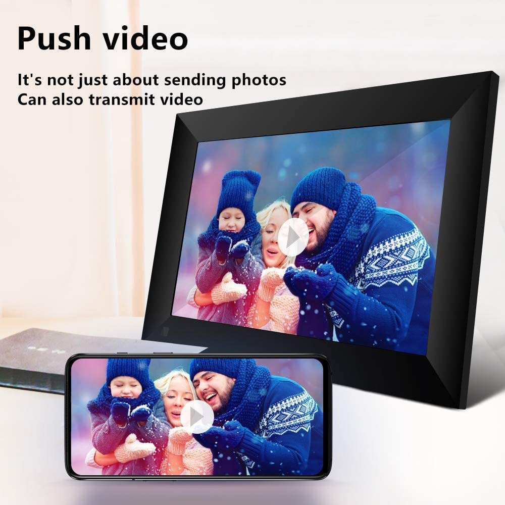 Black 10 Inch 16gb Smart WiFi Cloud Digital Picture Frame with 800x1280 IPS LCD Panel Email Photos from Anywhere Touch Screen
