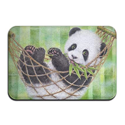amazon com yangpa cute baby panda eating bamboo outdoor rubber mat