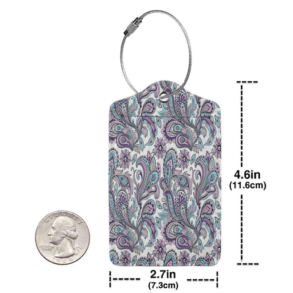 Printed luggage tag Paisley Blue and Purple Large Flowers Leaves Floral Pattern Bohemian Style Country Print Protect personal privacy White Purple Blue W2.7 x L4.6