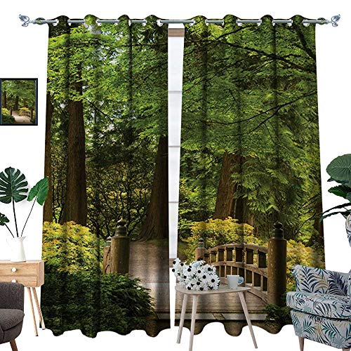 RenteriaDecor Japanese Waterproof Window Curtain Wooden Bridge Over Pond in Garden Calmness in Shadow of Trees Serenity in Nature Blackout Draperies for Bedroom W120 x L96 Green Brown - Pond Bridge Over