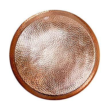 Circular Hammered Copper Serving Tray - By Alchemade - 15 Inches