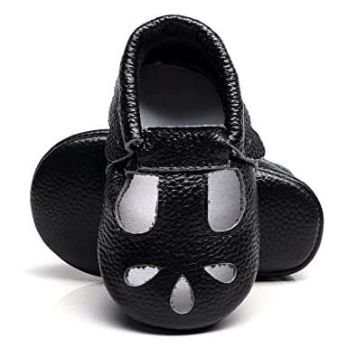 e3aed57618b5f HONGTEYA Baby Girls Shoes Soft Sole T-Strap Leather Baby Moccasins Crib  Infant Toddler Shoes