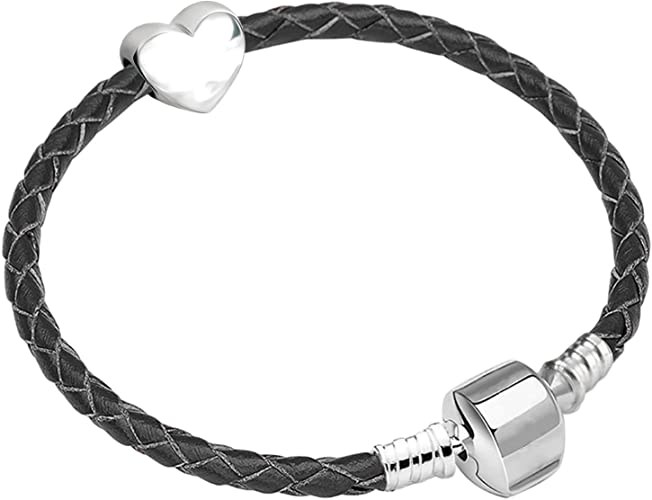 Charm Buddy Bracelet en cuir tressé et plaqué argent pour breloques  Pandora/Troll/Chamilia, 19 cm, noir