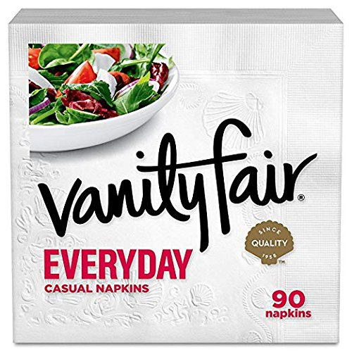 Vanity Fair Everyday Napkins, White Paper Napkins (24 Packs of 90 Napkins)