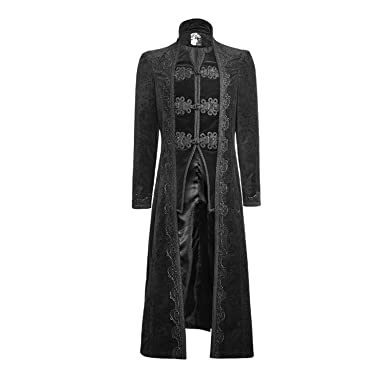 Punk Rave Gothic Gorgeous Retro Flower Pattern Long Coats Palace Delectable Mens Trench Coat Pattern