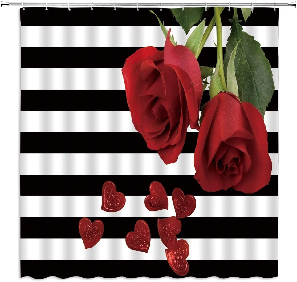 Black and White Stripes Shower Curtain Red Rose Flower Green Leaf Romance Heart on Classic Black White Stripes Creative Modern Fabric Bathroom Decor Sets with 12 Hooks,71X71 Inchs