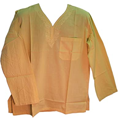 Men's Indian Cotton Embroidered V-neck Kurta Tan Long Sleeve Tunic Shirt  (Small/