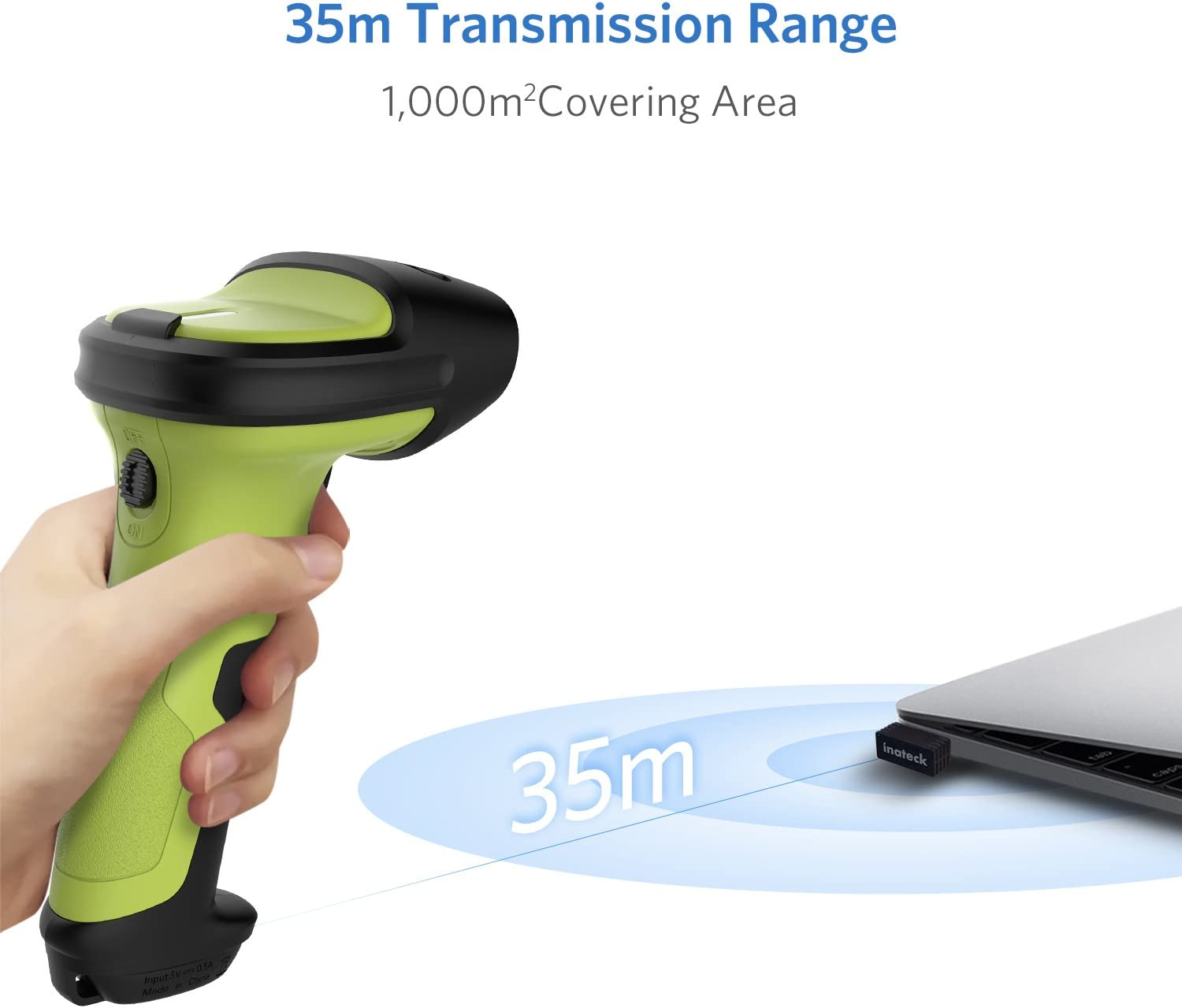 Automatic Fast and Precise scanning 2600mAh Battery BCST-60-BK Working Time Approx Inateck 2.4GHz Wireless Laser Barcode Scanner 35m Range 15 Day