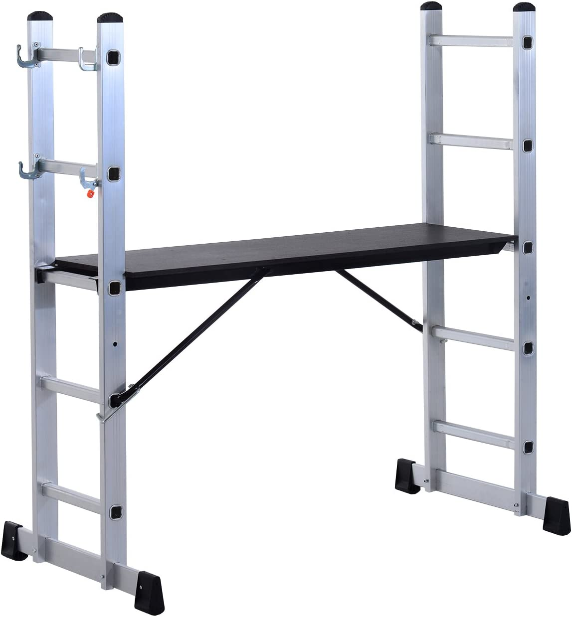 Homcom - escalera andamio de aluminio multiusos paso plataforma ...