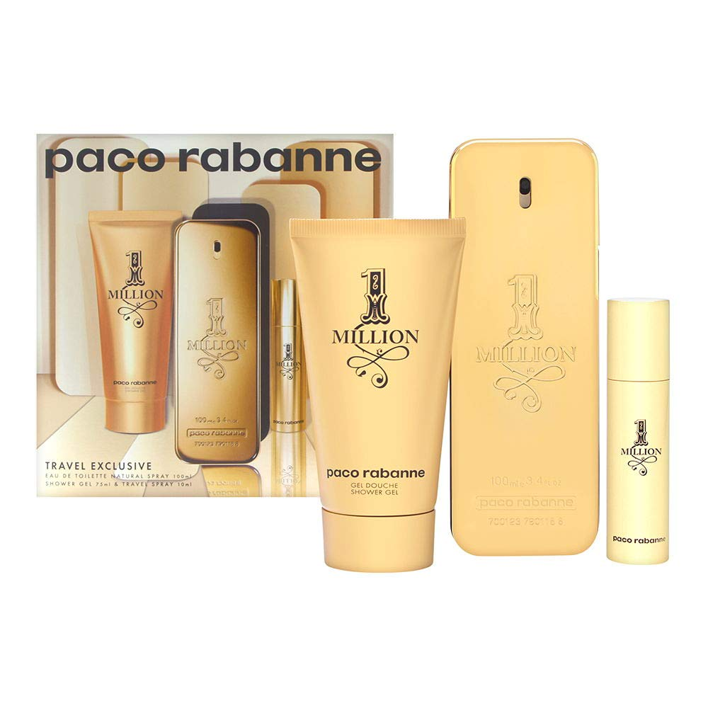 1 Million by Paco Rabanne Eau de Toilette Spray 100ml, Shower Gel 75ml & Eau de Toilette Spray 10ml by Paco Rabanne
