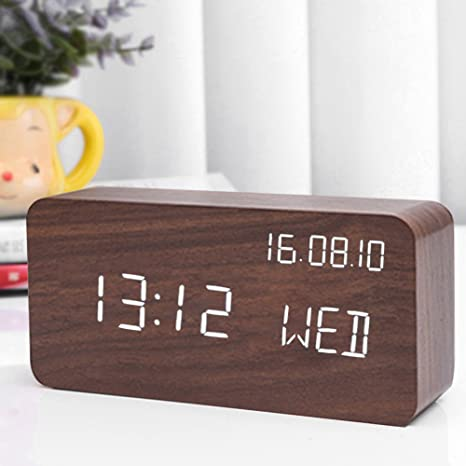 Amazon.com: Reloj despertador digital, cubo de madera, reloj ...