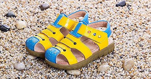 en Mode Garçons Advogue Mixte Chaussure Beach Sandales Doux Filles Bout Fermé Sandales Jaune Cuir Sandales enfant qqPRzOw