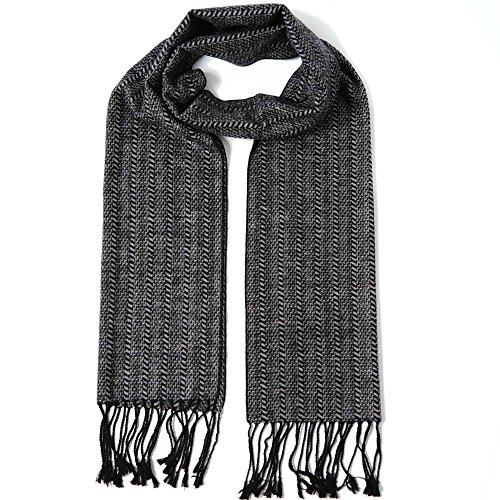 Winter Classic 100 Wool (Cuddle Dreams Men's Classic Fall Winter Scarves, 100% Brushed Silk, Luxuriously Soft (Black Gray Tassel))