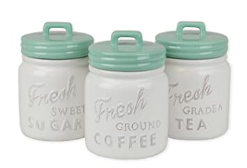 Dii 3 Piece Vintage Retro Farmhouse Chic Mason Jar Inspired Ceramic Kitchen Canister With Airtight Lid For Food Storage Store Coffee Sugar Tea