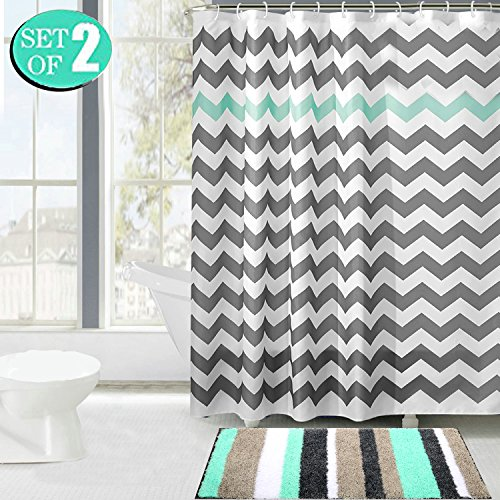 HEBE Non-slip Striped Microfiber Bathroom Mat, Fabric Shower Curtain, Set of 2
