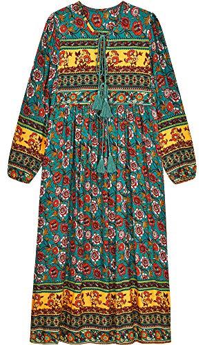 UIMLK Boho Maxi Dresses for Women Casual Summer, Cotton Long Sleeve Floral Print Tassel Bohemian Midi Dresses with…