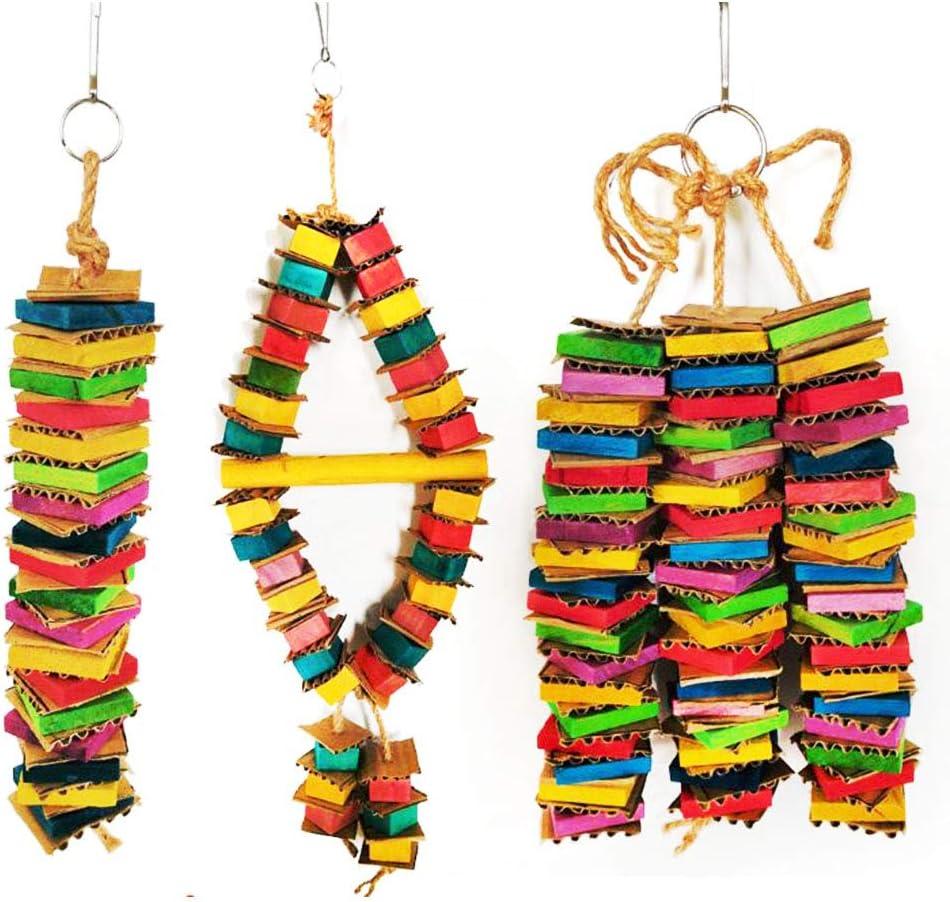 LCM Parrot Bite Toy, Juguete de pájaro, cartón Color Bloque de Madera Bloque de construcción destrucción Juguete, Loro Juguete, Color Colgante Jugar Divertido Loro Decorativo Juguete