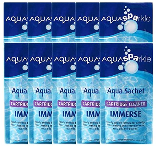 10 x Aquasparkle Immerse Cartridge Cleaner Aqua Sachet 100g