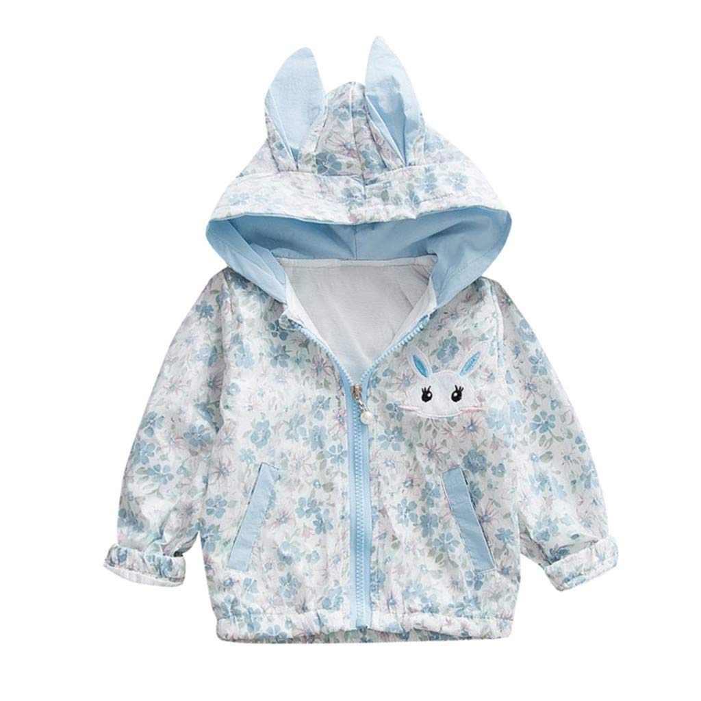 Amazon.com: Sunhusing Childrens Cartoon Rabbit Floral Pocket Long Sleeve Long Ear Hooded Zipper Windproof Coat Windbreaker: Clothing