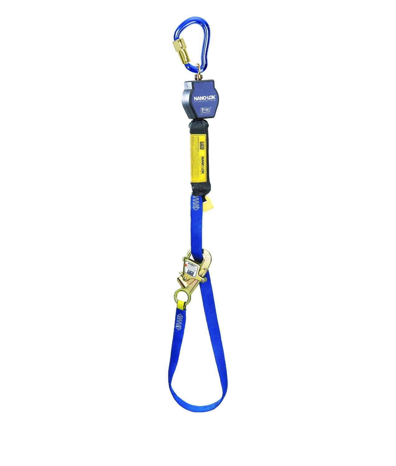 3M DBI-SALA Nano-Lok 3101365 Tie Back Self Retracting Lifeline, 9', 3/4'' Dynema Polyester Web, Tie-Back Hook, Swiveling Anchor Loop w/Alum Carabiner, Blue by 3M Personal Protective Equipment (Image #1)