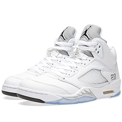 Jordan 5 Retro Men's Shoes White/Black-Metallic Silver 136027-130 (8