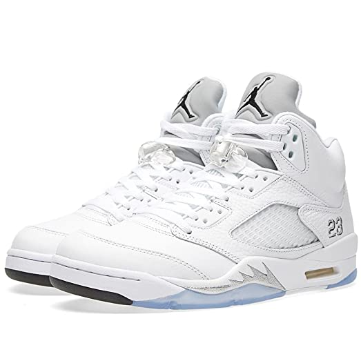Jordan 5 Retro Men\u0027s Shoes White/Black-Metallic Silver 136027-130 (9.5
