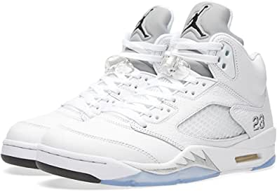 Jordan 5 Retro Men's Shoes White/Black-Metallic Silver 136027-130