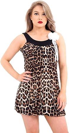 Momo&Ayat Fashions Camisas - Animal Print - Sin Mangas - para Mujer: Amazon.es: Ropa y accesorios