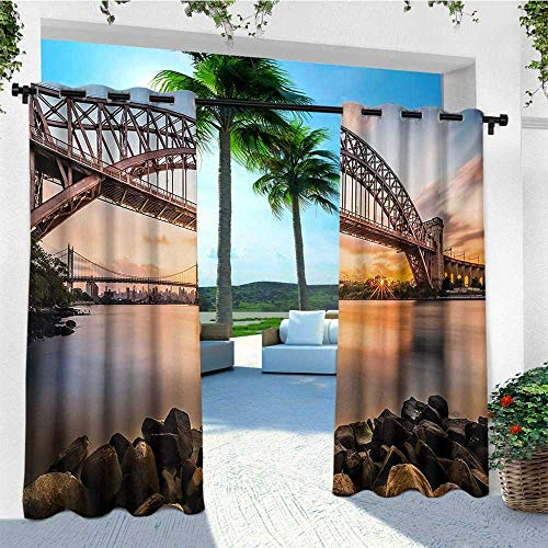 - leinuoyi Landscape, Outdoor Curtain Ties, Sunset Evening View Picture Hell Gate and Triboro Bridge Astoria Queens America, Outdoor Patio Curtains W108 x L96 Inch Brown Blue