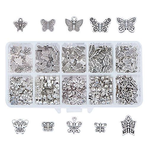 PH PandaHall 200pcs 10 Style Antique Silver Tibetan Alloy Butterfly Spacer Beads Metal Spacers Charms for Bracelet Necklace Jewelry Making