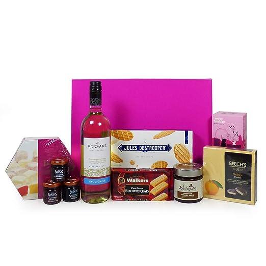 Vino Y Nibbles Cumpleaños regalo cesto presentado en una ...
