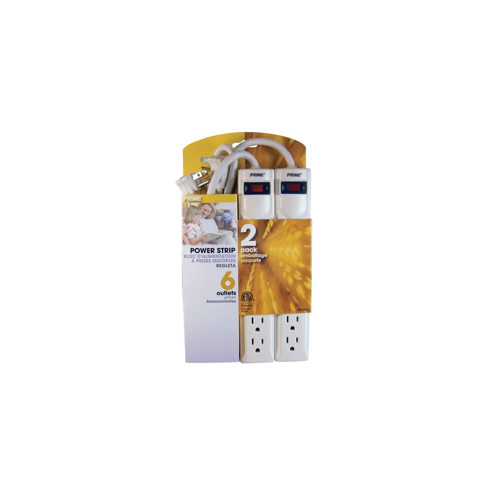 Prime Wire & Cable PB8100X2 6 Outlet Power Strips with 3 Foot Cord, White, 2 Pack