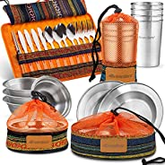 Wealers Unique Complete Messware Kit Polished Stainless Steel Dishes Set  Tableware  Dinnerware  Camping  Buff