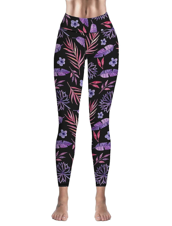Custom Leggings Women High Waist Soft Yoga Workout Stretch Printed Purple Leaves Stretchy Capris Pants
