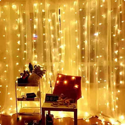 Amazon Com Ever Smart Window Curtain String Lights Usb Powered 300 Leds Warm White Twinkle Lights For Bedroom 9 8x9 8 Ft Waterproof Hanging Wall Lights 8 Modes Chasing Fairy String Lights Home Improvement