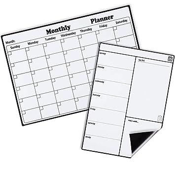 Homein Calendario Magnético para Nevera, Kit Pizarra Planificador Mensual y Semanal, Recordatorio, Lista de la Compra, Estudio, Calentario Frigorifico ...