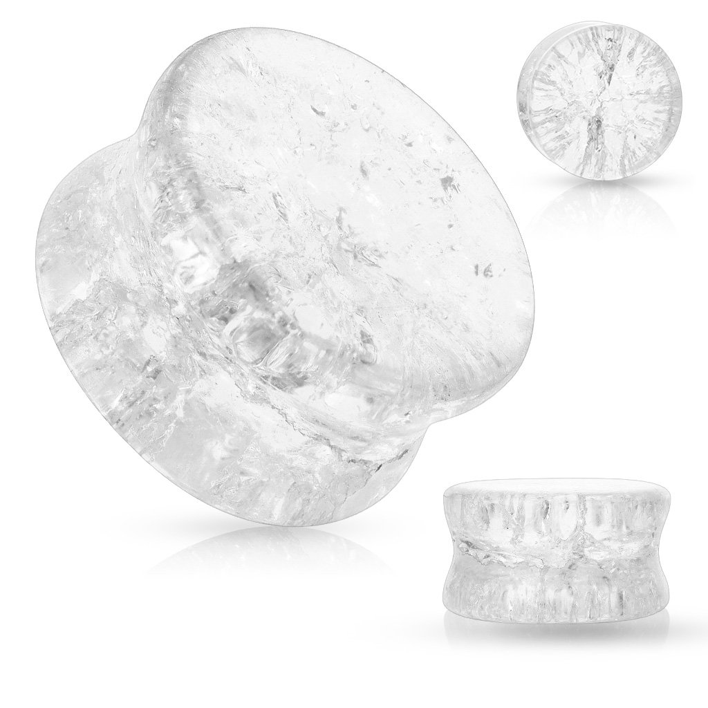 WildKlass Shattered Glass Double Flared Saddle Plugs (Sold as Pair) (5/8 Inch, Clear)