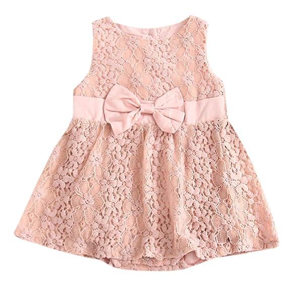 OPAKY Toddler Niñas sin Mangas Bow Romper Princess Dress Trajes Ropa Vestido de Floral de 1PC Bebé Encaje Completo Vestido de Fiesta Infantil Princesa: ...