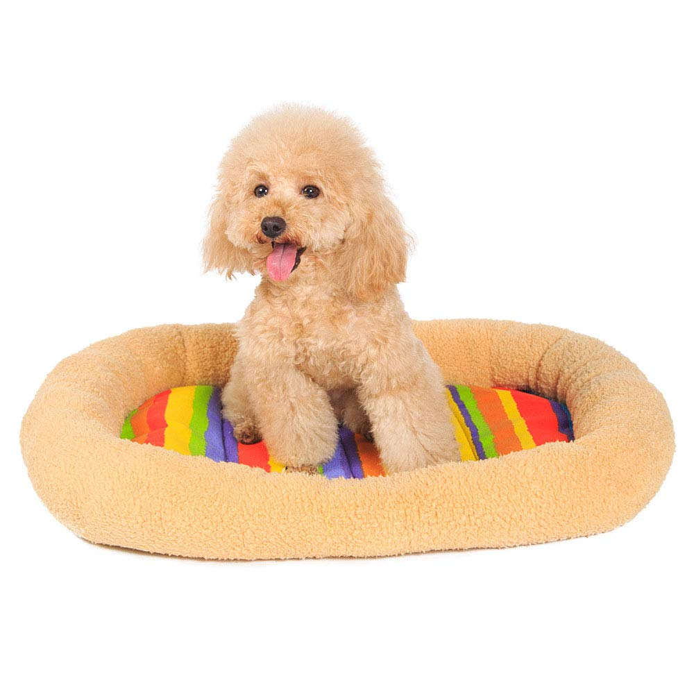 BrownM MiaoMiao Oval Shape Pet Kennel Mat Vitality colorful Strip Pet Pad Teddy Pet House Ultra-Thick Super Soft Washable Pet Nest,Brownm