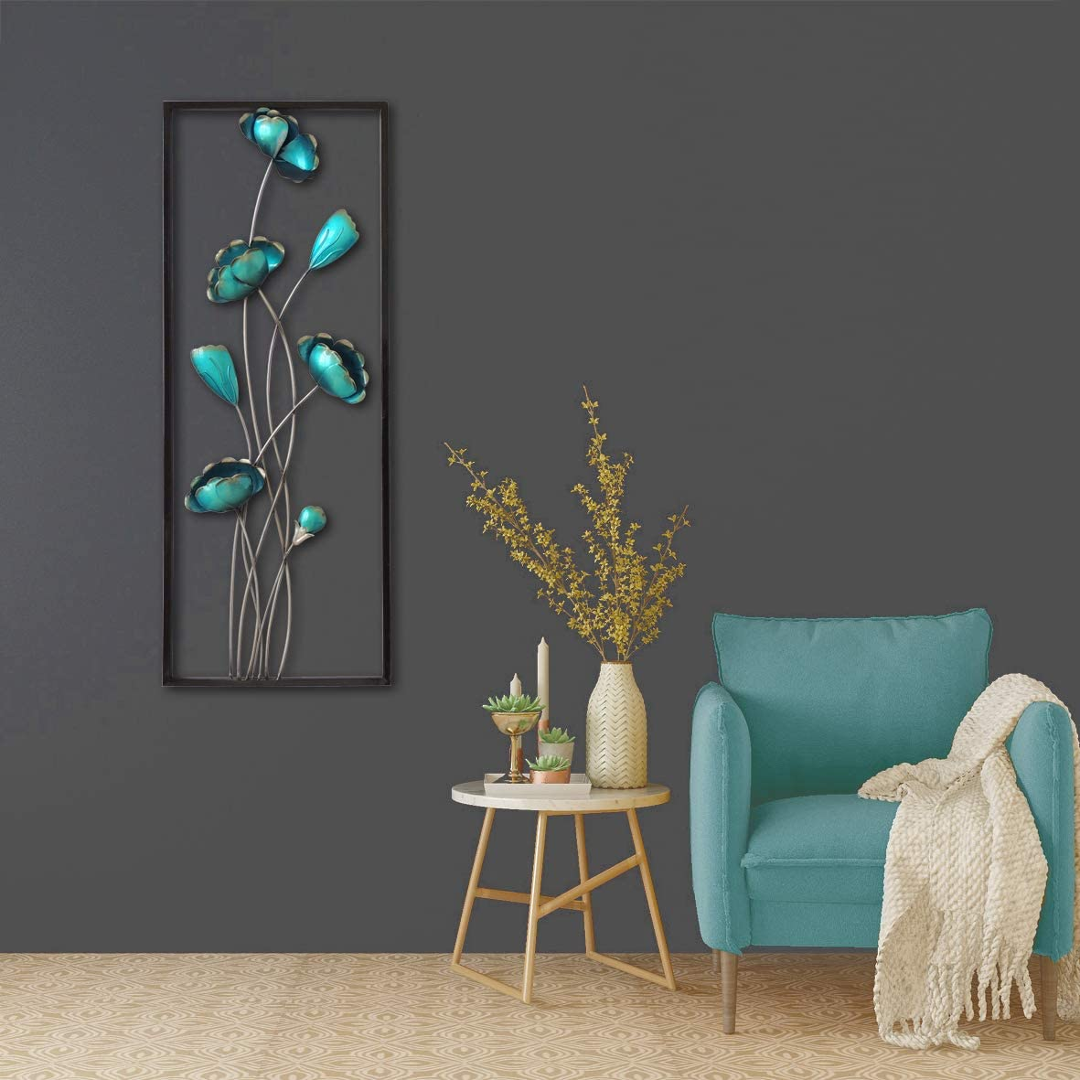 "All American Collection New Modern Chic Aluminum/Metal Wall Decor Frame 12""x30"" (Turquoise Closed Flowers)"